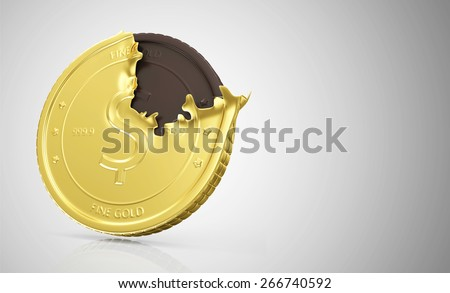 Business and Financial Concept. Golden Coin with Chocolate Coin on gradient reflective background with place for Your text - stock photo