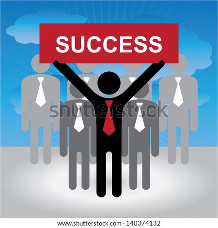 Business and Financial Concept Present By Group of Businessman With Red Success Sign on Hand in Blue Sky Background