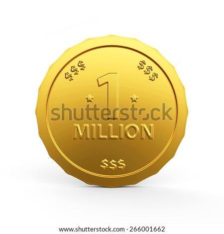Business and Financial, symbol of Wealth and Success concept. One Million dollars golden coin isolated on white background - stock photo