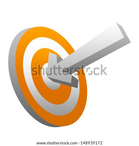 Business and Marketing Concept, 3d Arrow Hitting Orange Target Isolated on White Background  - stock photo