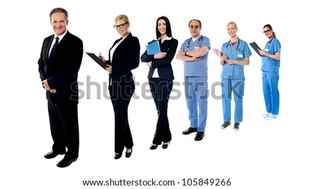 Business and medical collage. All on white background