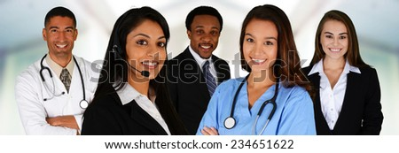 Business and Medical Team of Mixed Races at Office - stock photo