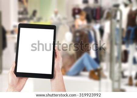 business and modern lifestyle concept: young woman shopping online, blank screen - stock photo