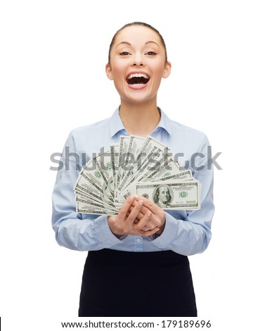 business and money concept - laughing businesswoman with dollar cash money