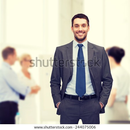 business and office concept - handsome buisnessman - stock photo