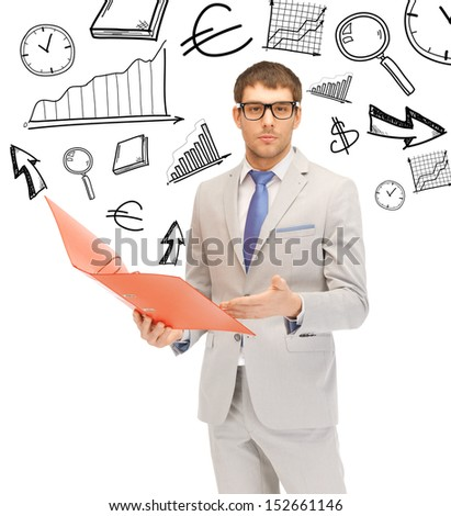 business and office concept - handsome businessman with folders - stock photo