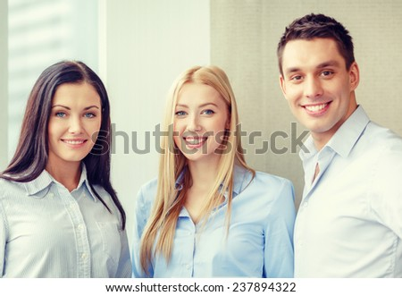 business and office concept - happy business team in office - stock photo