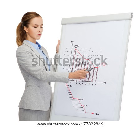 business and office concept - upset businesswoman standing next to flip board with chart on it - stock photo