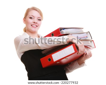 Business and paperwork. Busy businesswoman carrying stack of folders with files documents isolated on white.