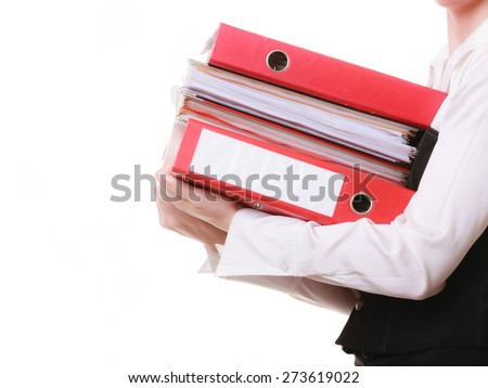 Business and paperwork. Stack of folders with files documents in hands of tired overworked busy businesswoman isolated on white. - stock photo