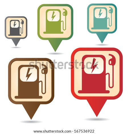 Business and Service Concept Present By Colorful Vintage Style Map Pointer Icon With Electromobile Charge Station Sign Isolated on White Background  - stock photo