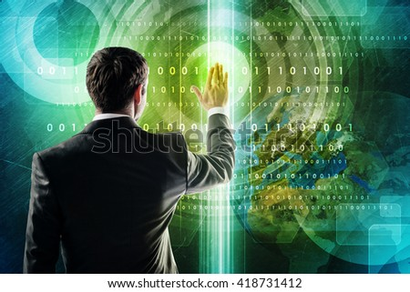 Business and social networking concept - businessman pressing button on virtual screen. Elements of this image furnished by NASA - stock photo