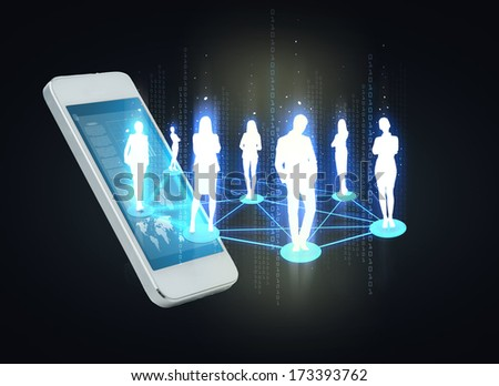 business and technology concept - smartphone with social or business network - stock photo