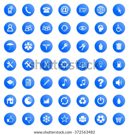 business and technology internet blue icons set - stock photo