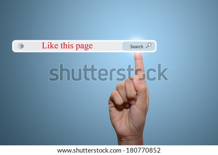 Business and technology, searching system and internet concept - male hand pressing Search Like this page button.  - stock photo