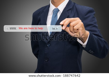 Business and technology, searching system and internet concept - male hand pressing Search We are here to help button.   - stock photo