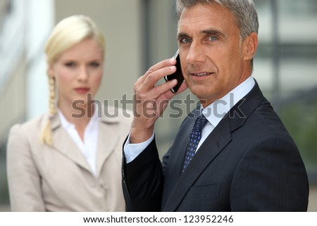 Business appointment outdoors - stock photo