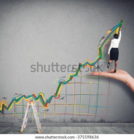 Business arrow upwards - stock photo