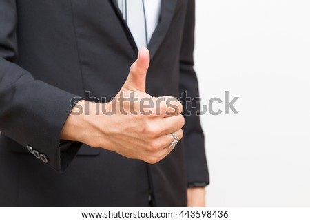Business asian man hand show Thumb up on white background - stock photo