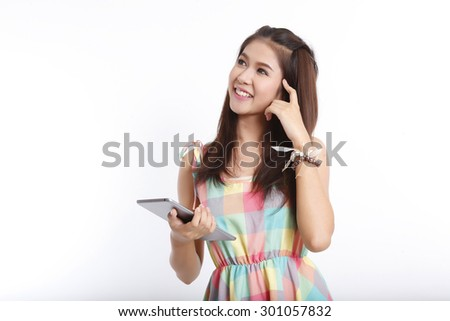 Business asian woman holding tablet computer isolated on white background