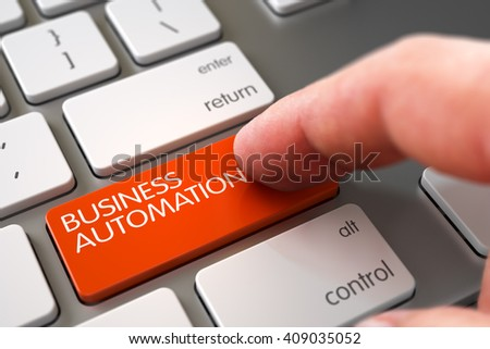 Business Automation Concept. Business Concept - Male Finger Pointing Business Automation Button on Modern Laptop Keyboard. Finger Pushing Business Automation Key on Modern Laptop Keyboard. 3D Render. - stock photo