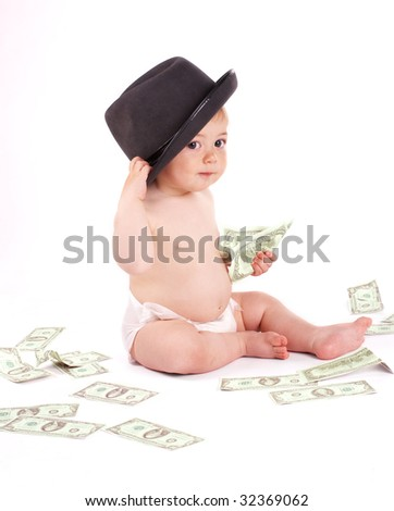 Business baby boy with money on white background - stock photo