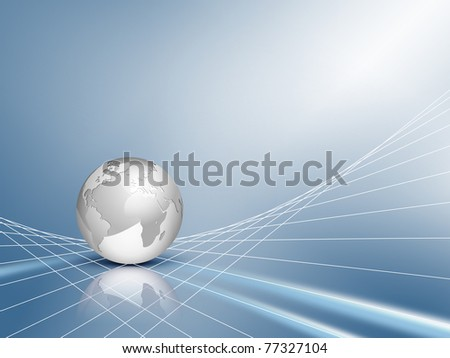 Business background - design with silver grey 3d globe, world map with blue shiny abstract network backdrop - technical communication and connection concept