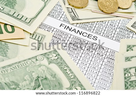 Business background, financial data concept with numbers and money