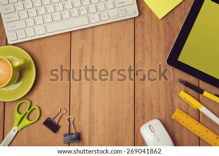 Business background for office desk mock up template. View from above - stock photo