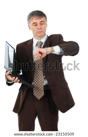 Business background: handsome businessman in a work process. - stock photo