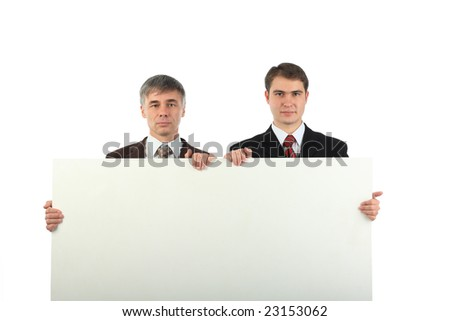 Business background: handsome businesspeople with white board - stock photo