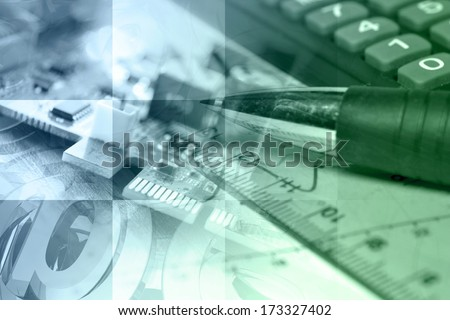 Business background in blues and greens with electronic device and graph. - stock photo