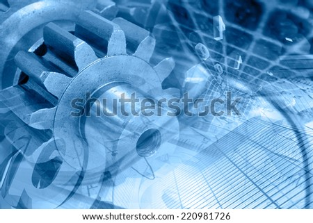 Business background in blues with gears and digits. - stock photo
