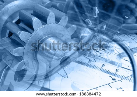 Business background in blues with graph and mail signs. - stock photo