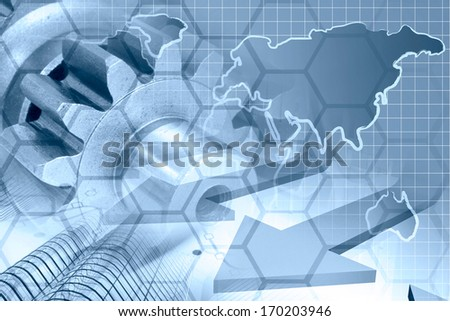 Business background in blues with map, gear and buildings. - stock photo