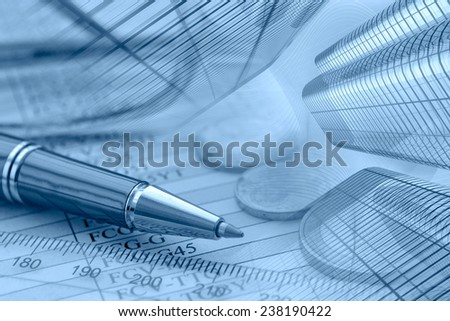 Business background in blues with money, buildings and pen. - stock photo