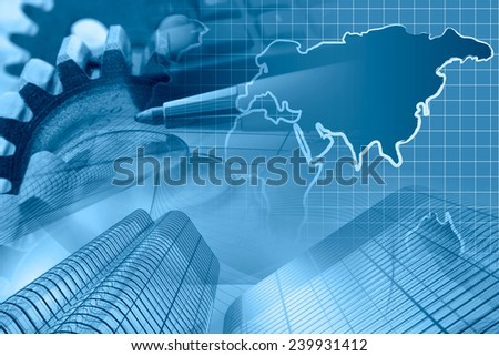 Business background in blues with money, gears and pen. - stock photo