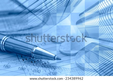 Business background in blues with money, ruler and pen. - stock photo