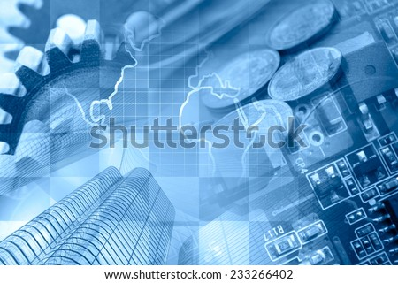 Business background in blues with office buildings and gears. - stock photo