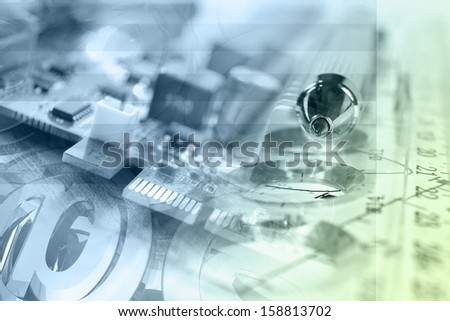 Business background in greens and blues with pen and mail signs. - stock photo