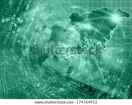 Business background in greens with electronic device and digits. - stock photo