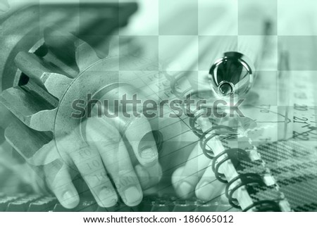 Business background in greens with hands, graph and gears. - stock photo