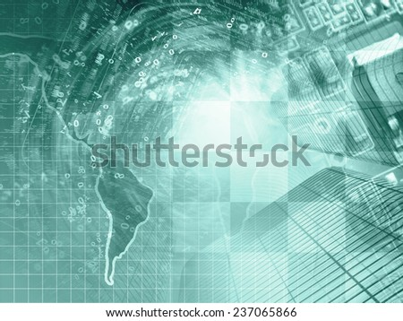 Business background in greens with map, electronic device and digits.