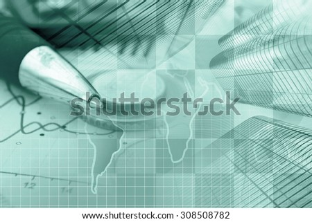 Business background in greens with money, graph and buildings. - stock photo