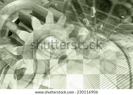 Business background in sepia with graph, gear and buildings. - stock photo