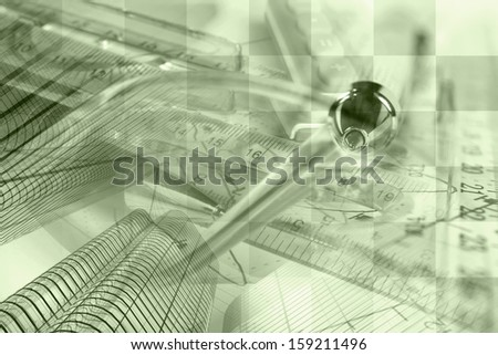 Business background in sepia with graph, ruler, pen and calculator. - stock photo