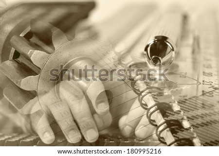 Business background in sepia with hands, gears and graph. - stock photo