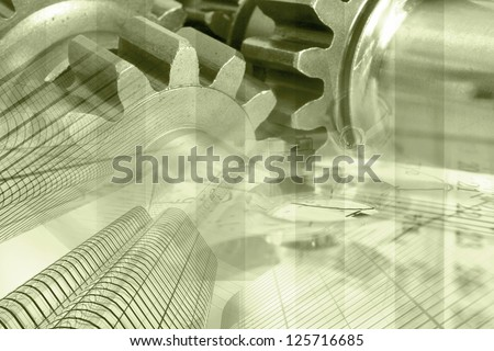 Business background with buildings, gears and graph, in sepia.