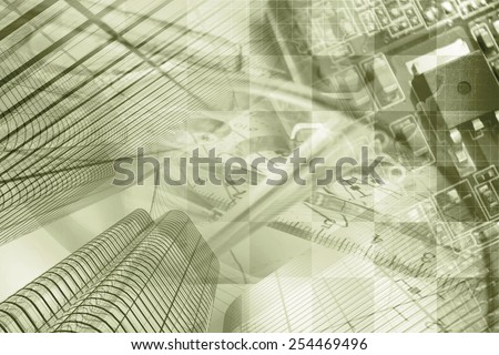 Business background with buildings, graph and electronic device, sepia toned. - stock photo