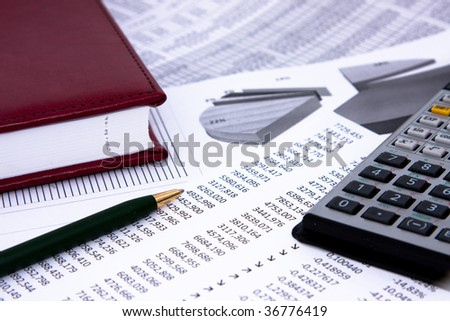 Business background with calculations and note